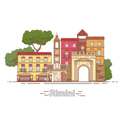 Italy rimini outline city skyline linear vector