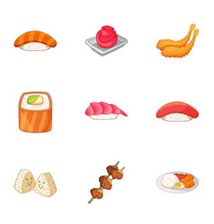 Japanese dishes icons set cartoon style vector