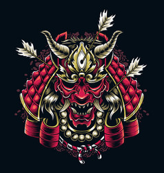 japanese samurai mask shot arrows japanese vector image