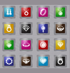 jewelry glass icons set vector image