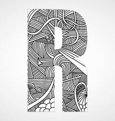Letter r from doodle alphabet vector