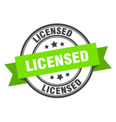 licensed label green band sign vector image