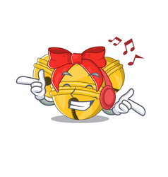 Listening music jingle bell in character shape vector