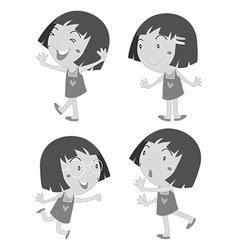 Little girl in different poses vector image