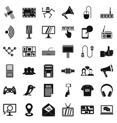 media icons set simple style vector image