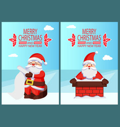 Merry xmas and happy new year postcard santa claus vector