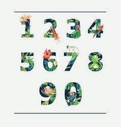 Number tropical alphabet typographic design vector