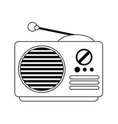 Old radio stereo device in black and white vector