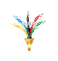 Olympic torch concept flame and gold torch vector