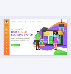 online learning system education and knowledge vector image