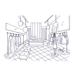 Outline drawing of clothing boutique interior with vector