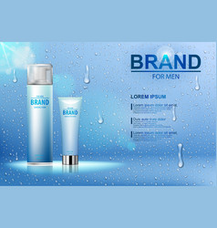Packing of cosmetic after shave cream and shaving vector