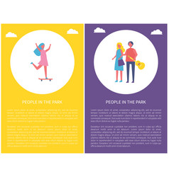 people in park couple walks together skateboard vector image