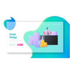 Product life cycle landing page template retailer vector