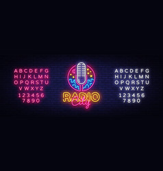 Radio neon logo radio city neon sign vector