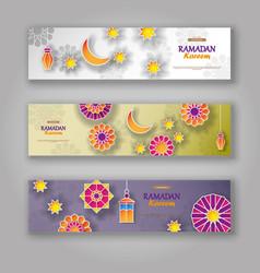 ramadan kareem horizontal banners with 3d vector image