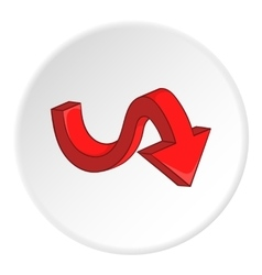 Red curved arrow down icon cartoon style vector image