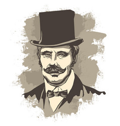 retro solid businessman with mustache in a bow vector image