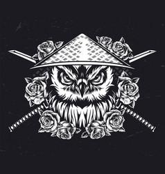 Serious owl head vintage monochrome concept vector