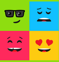 Set colorful emoticon background pattern vector