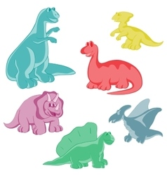 Set Funny colored dinosaurs vector image