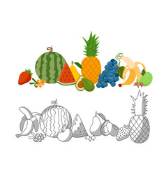 set of fruit colorful and blackand white vector image