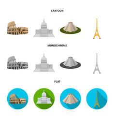 Sights of different countries cartoonflat vector