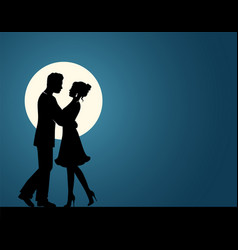 Silhouettes of a couple in love vector