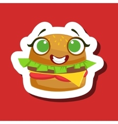 Smiling burger sandwich cute emoji sticker on red vector