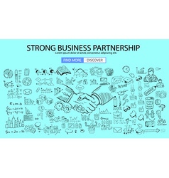 Strong Business Partnership concept wih Doodle vector image