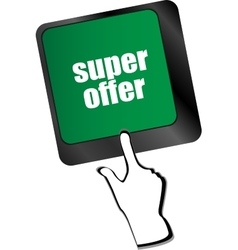 Super offer text on laptop computer keyboard vector