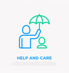 taking care about child man holding umbrella vector image