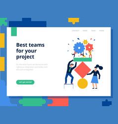 Teamwork page concept vector