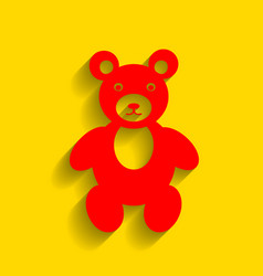 teddy bear sign red icon vector image