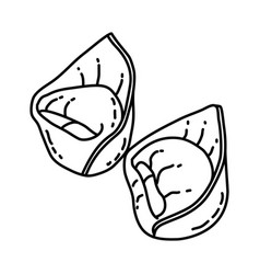 tortellini icon doodle hand drawn or outline icon vector image