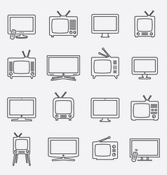 tv icons set linear icons tv isolated vector image