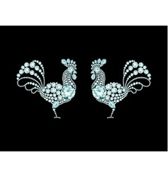 Two elegant roosters diamond composition vector