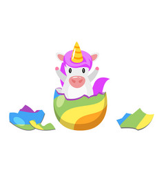 Unicorn hatched from egg vector
