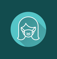 woman in medical face mask icon for graphic and vector image