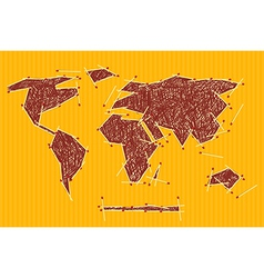 World Map on Orange Cardboard vector image