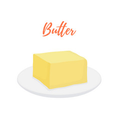 yellow butter bar on plate organic product vector image