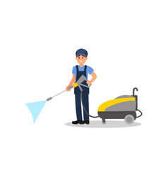 young man posing with jet cleaning machine vector image