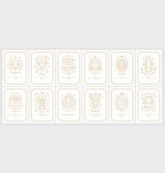 Zodiac astrology horoscope cards linear design vector