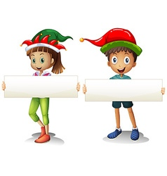 Boy and girl holding blank signs vector image vector image