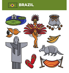 Brazil tourism travel landmarks and famous vector