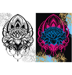 lotus lily water flower set vector image
