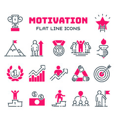 motivations outline icons set vector image