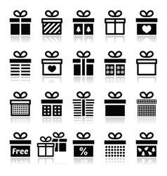 Present gift box icons set vector image vector image