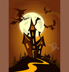 scary house on night background cartoon vector image