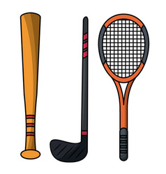 set stick bat racket sport equipment vector image vector image